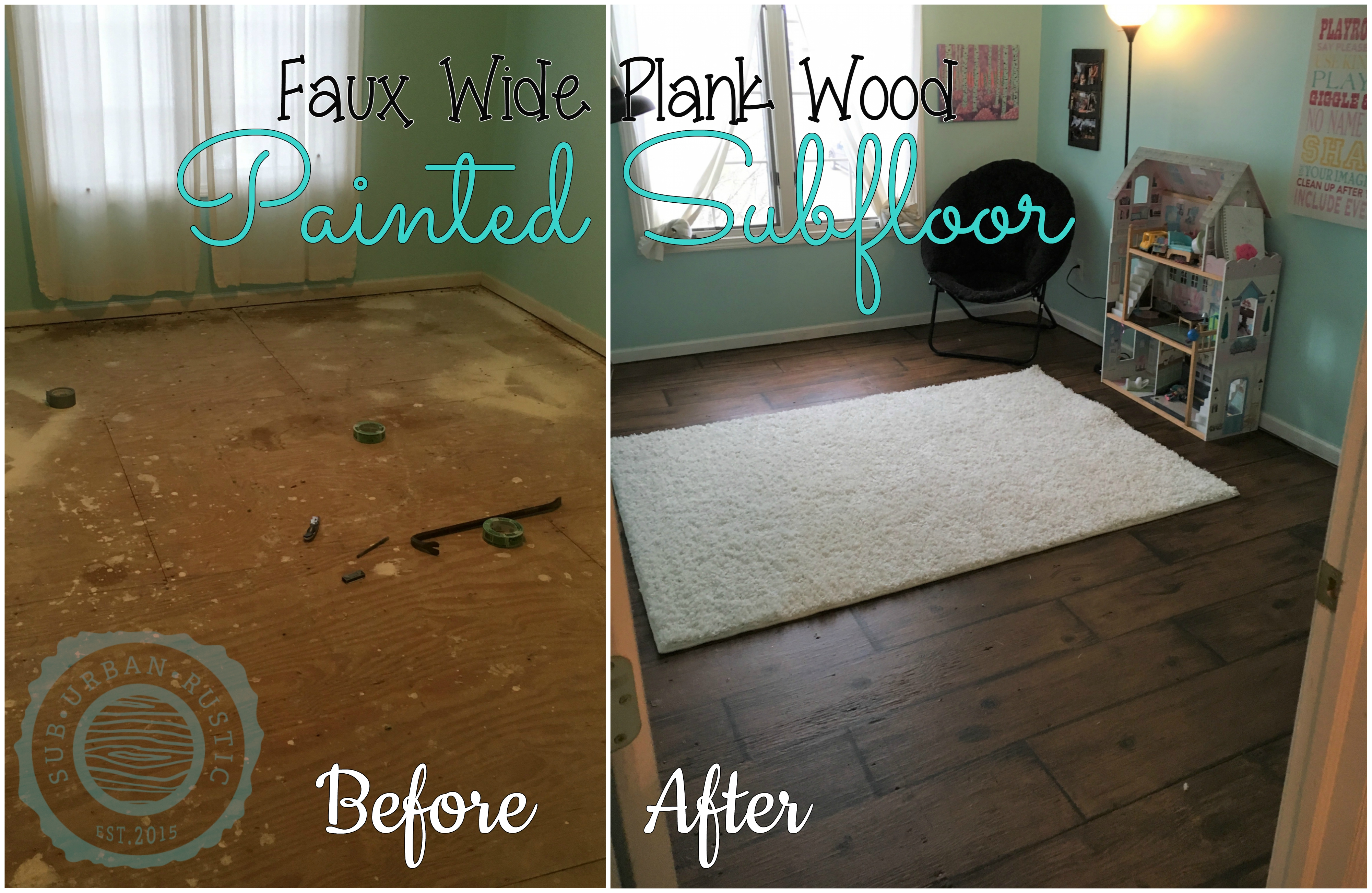 How To Paint A Sub Floor To Look Like Wide Plank Wood